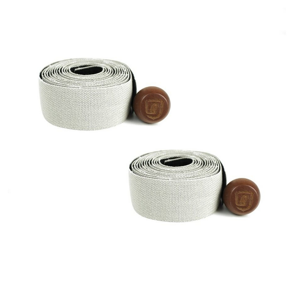 Pair of grey canvas handlebar tapes with wooden caps