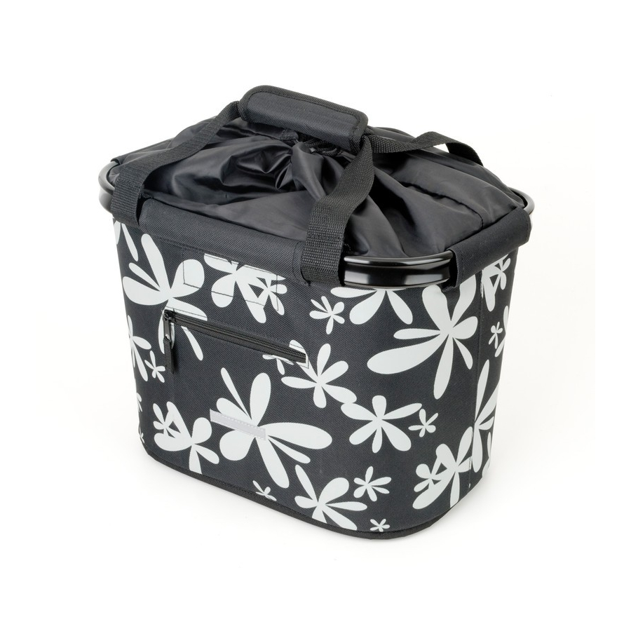 Cestino anteriore 20L nero / fiori con fissaggio rapido