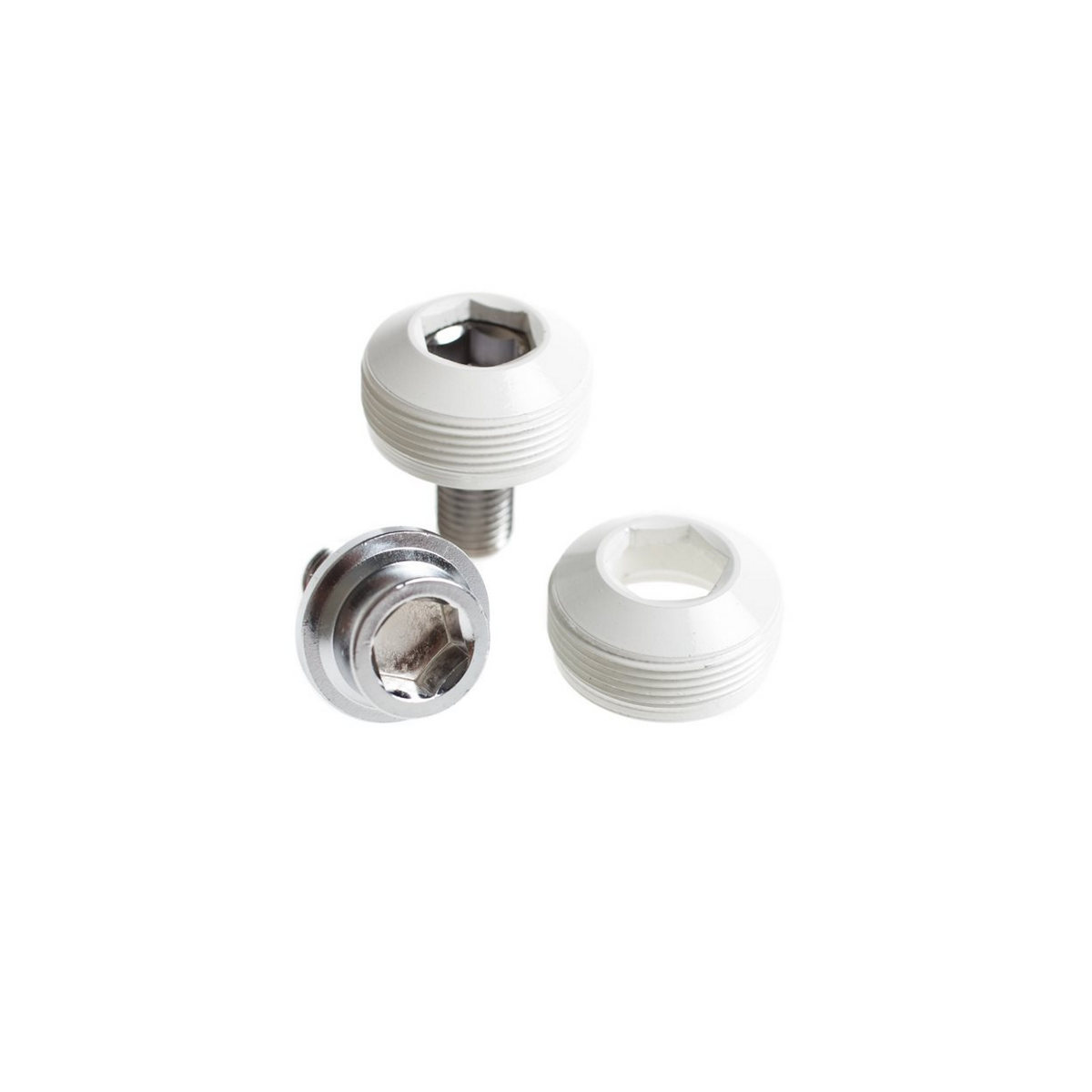 Alloy cup crank bolts with dust cover white