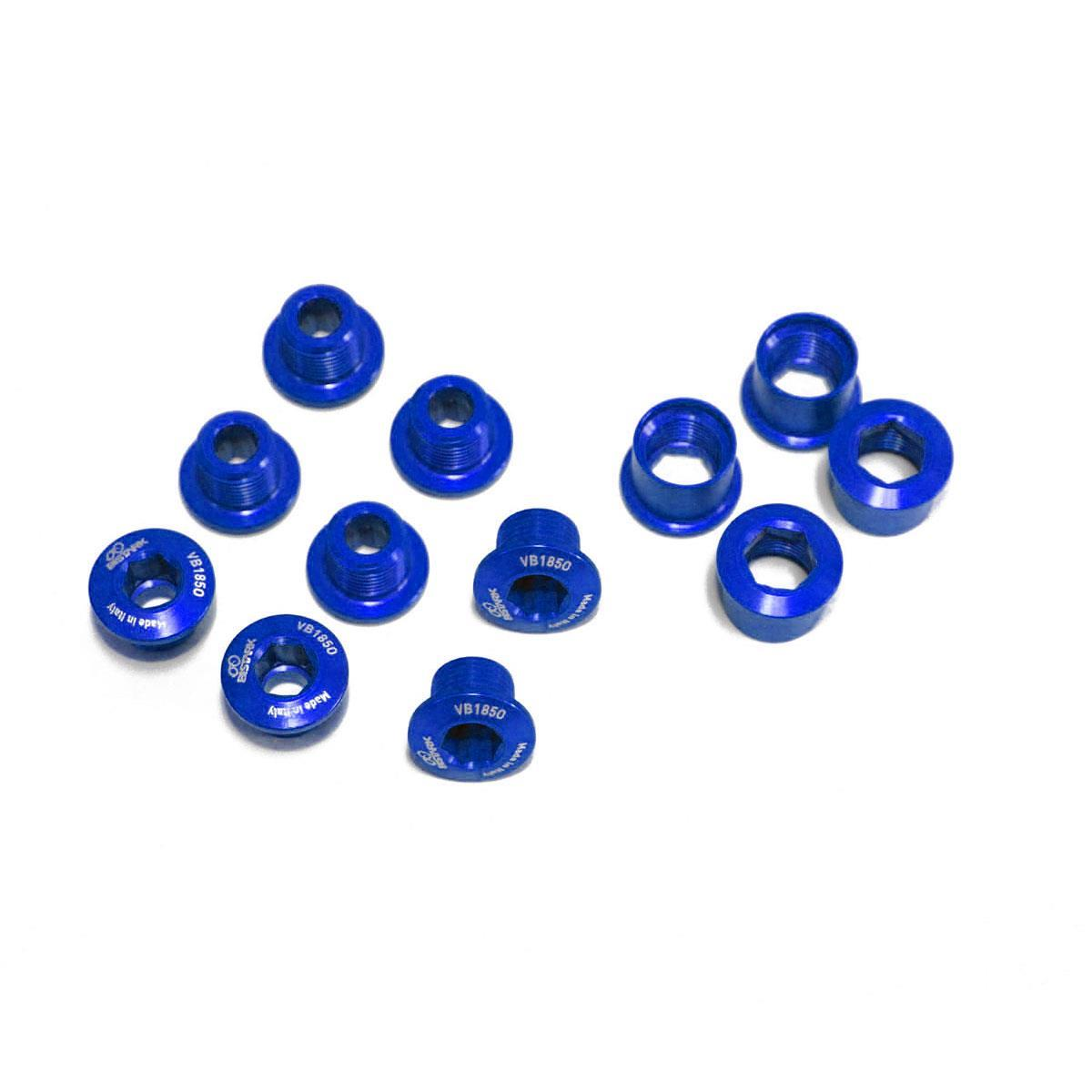 kit viti montaggio corone guarnitura tripla mtb blu