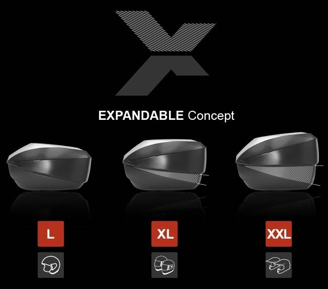 SHAD Expandable top cases: new technology with adjustable load capacity in 3 positions