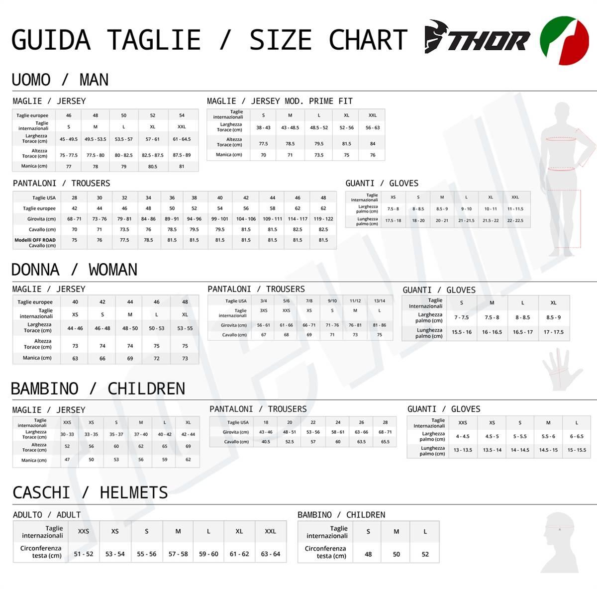 Size chart brand Thor