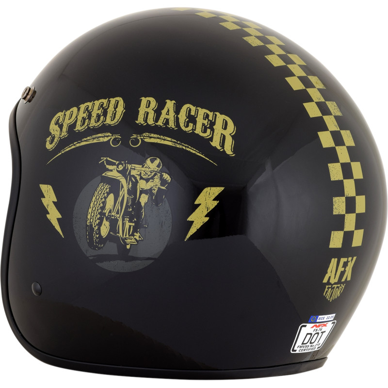 Casco Moto Jet Custom AFX FX-76 Speed Racer Nero Lucido