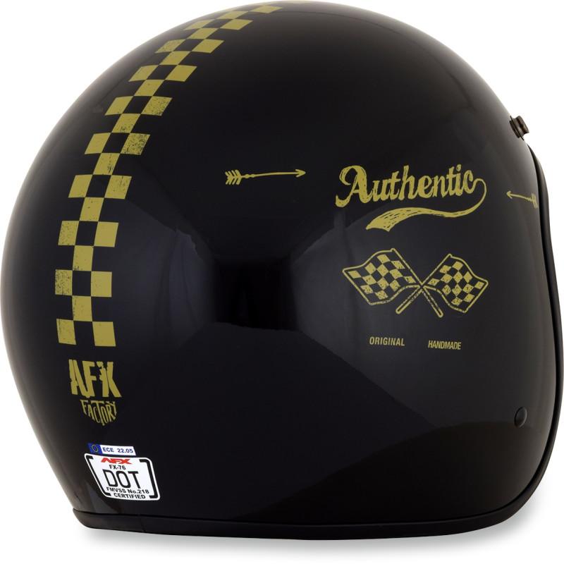 Casco Moto Jet Custom AFX FX-76 Raceway Nero Opaco Arancio