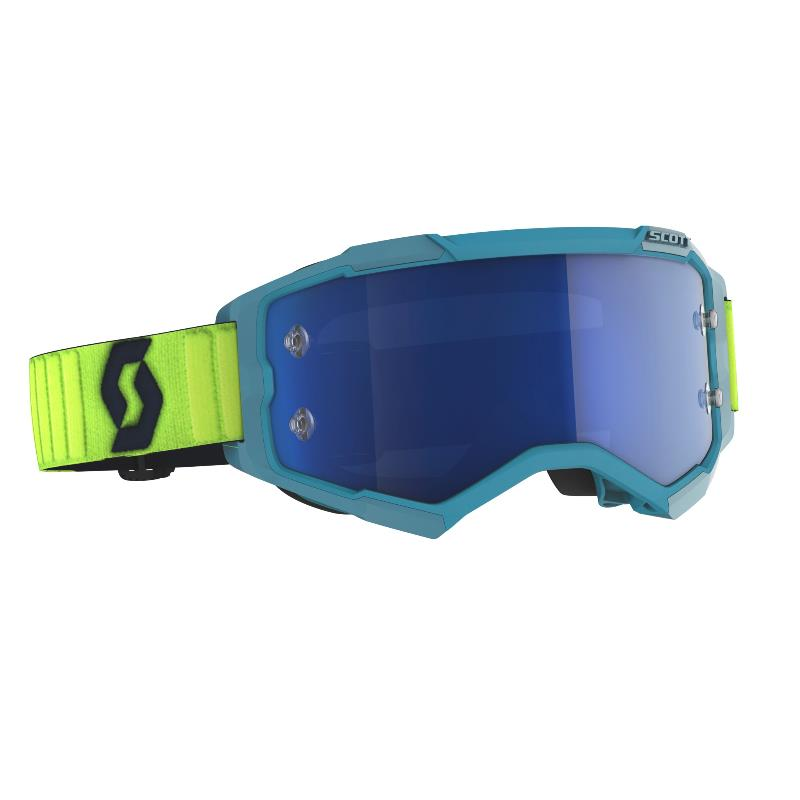 Fury goggle Teal blue Neon yellow - Visor Electric Blue chrome works