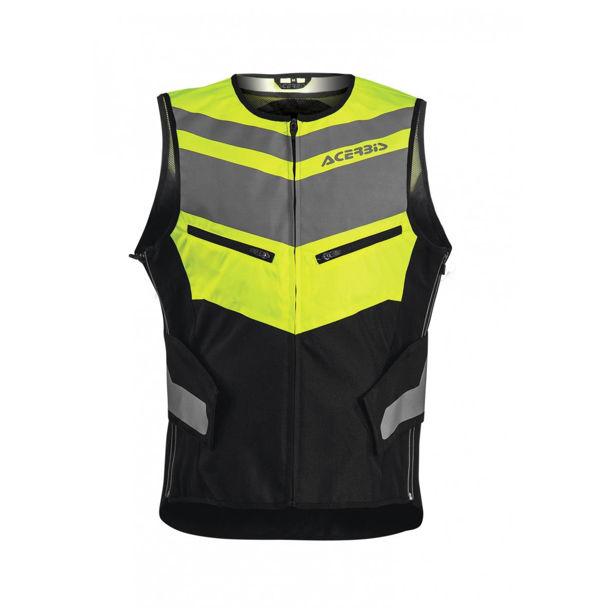 Highway Vest Short High Visibility ISO 20471 with Back Protector Size S/M