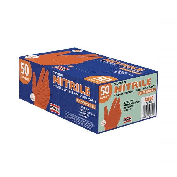 Confezione 50pz Guanti in Nitrile Arancioni Taglia L