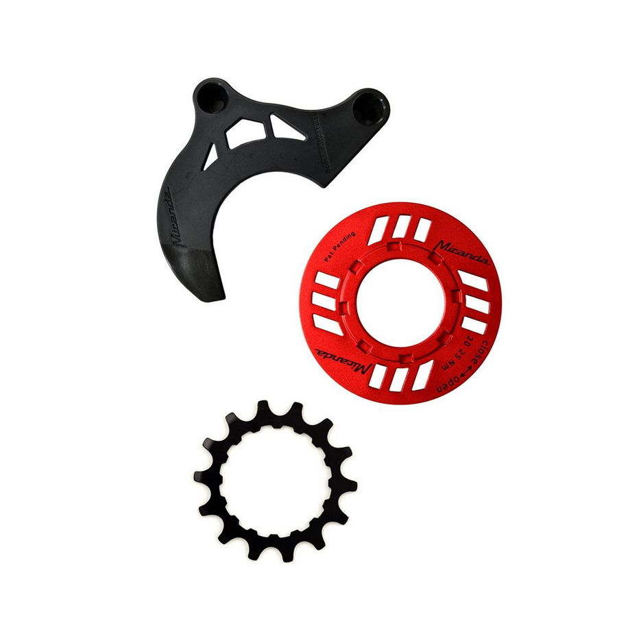chainguard-set for e-bike incl. chainring 14 teeth and chainguide for Bosch GEN2, red