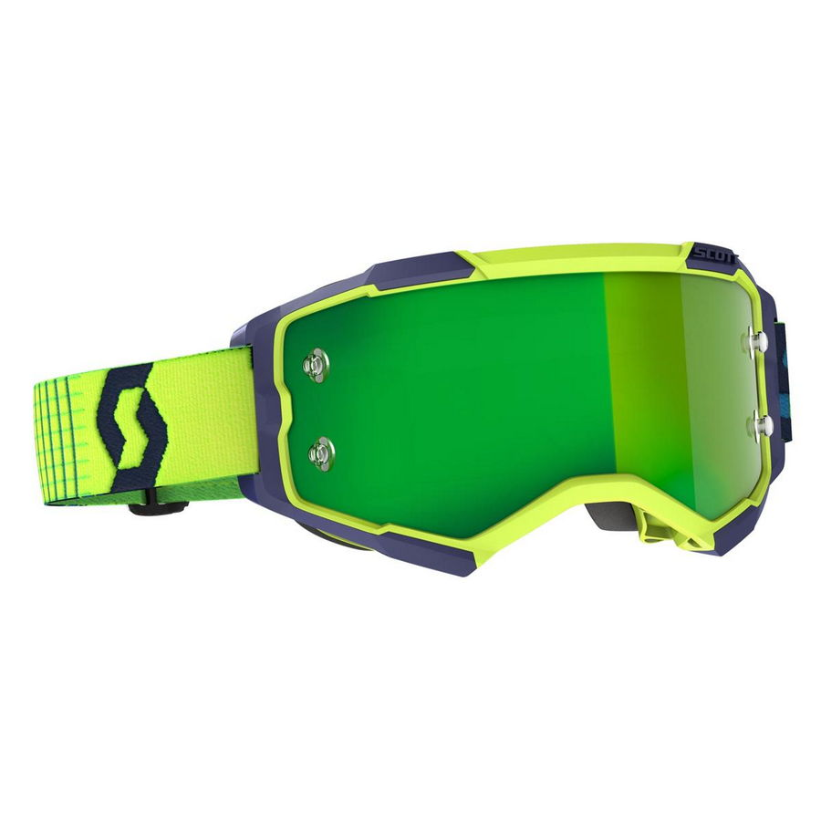 Fury goggle Blue Yellow - Visor Green chrome works