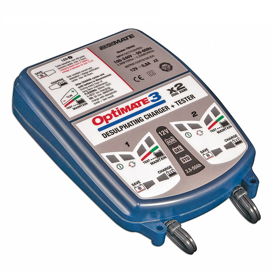 OptiMate 3 x 2 - Double outputs battery charger-maintainer-tester seven phases 12V 1A