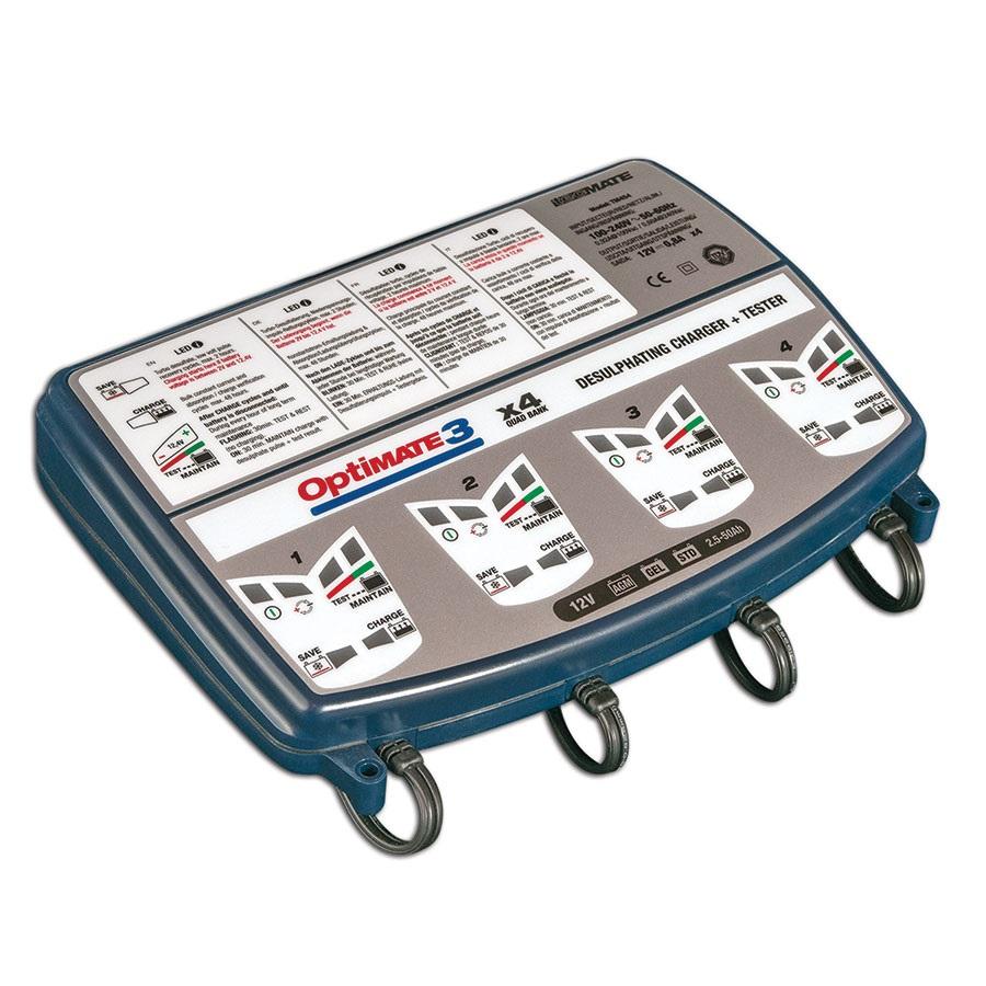 OptiMATE 3 x 4 - Caricabatterie manutentore e tester sette fasi 12 V 1A a quattro uscite