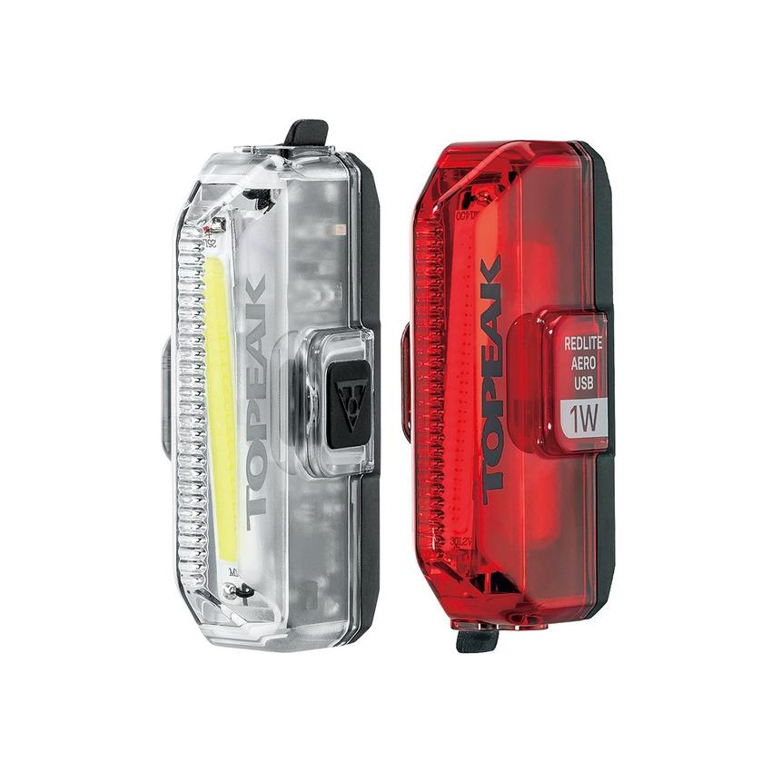 Kit Fanalini Aanteriore e Posteriore a Led WhiteLite Aero USB 1W + RedLite Aero USB 1W