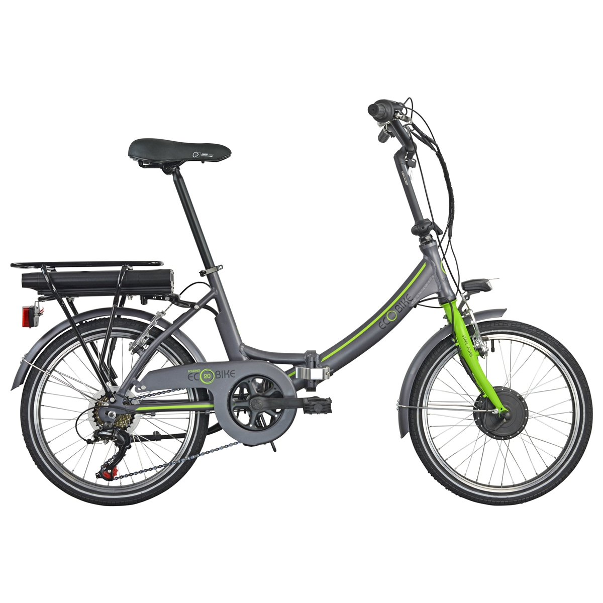 Folding Ecobike 1281 20'' 6s Bafang Front 374Wh Grey/Green 2021