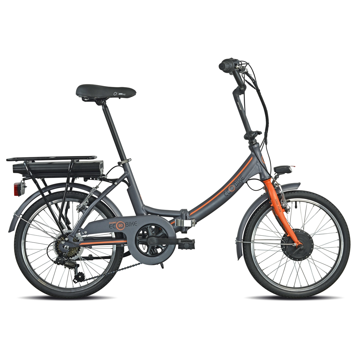 Bici Pieghevole 1281 Folding Ecobike 20'' 6v Bafang Anteriore 374Wh Grigio/Arancio 2021
