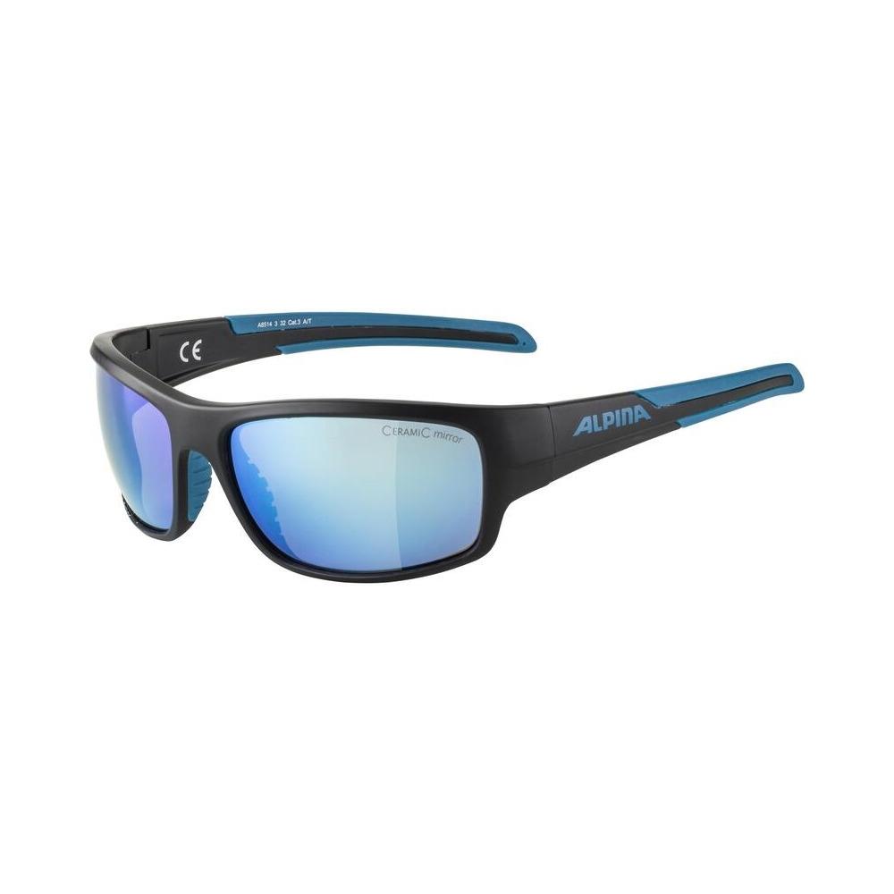 Glasses Testido Black Matt Blue / Ceramic Mirror Lens Blue