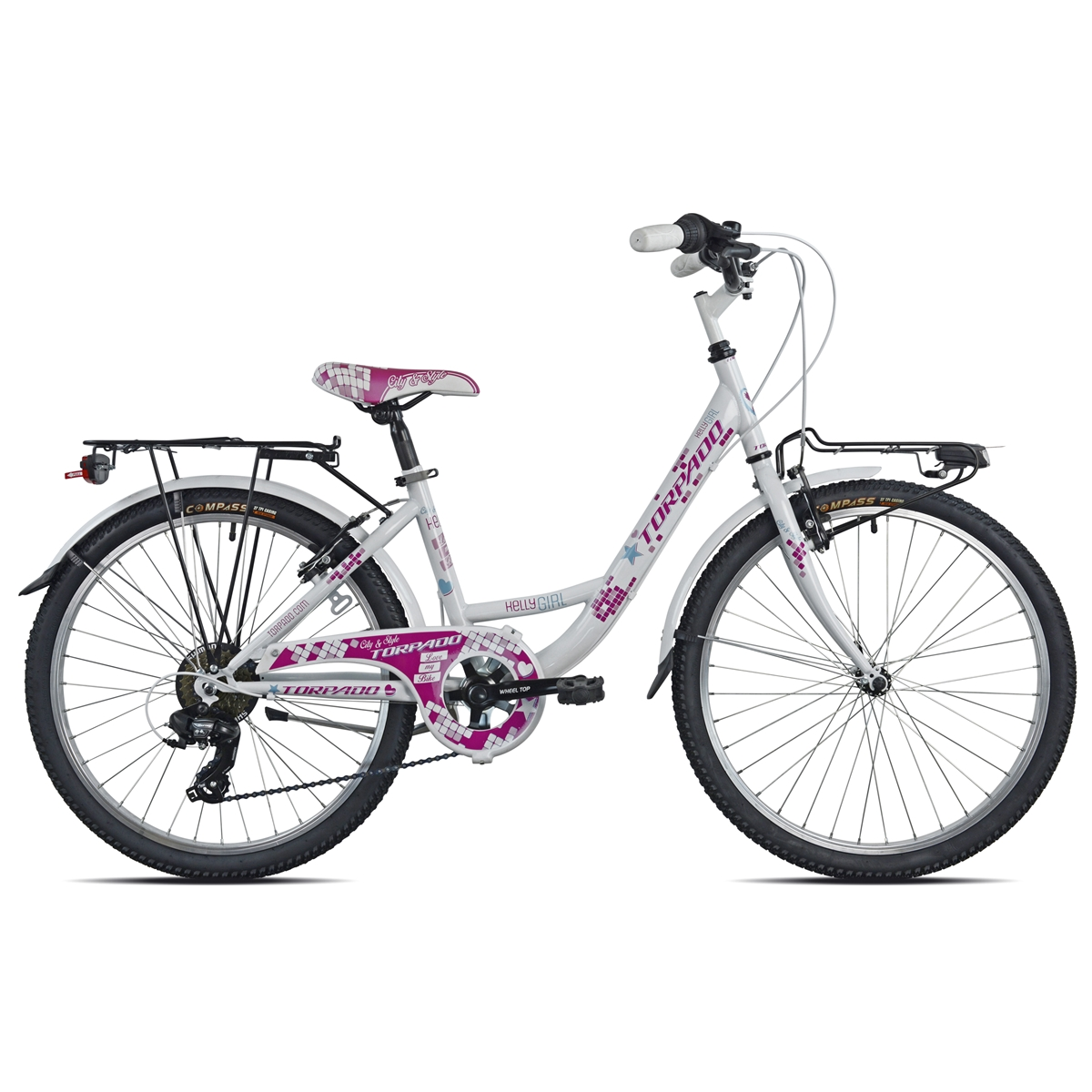 Junior Bicycle T611 Kelly Girl 24'' 6s White/Magenta