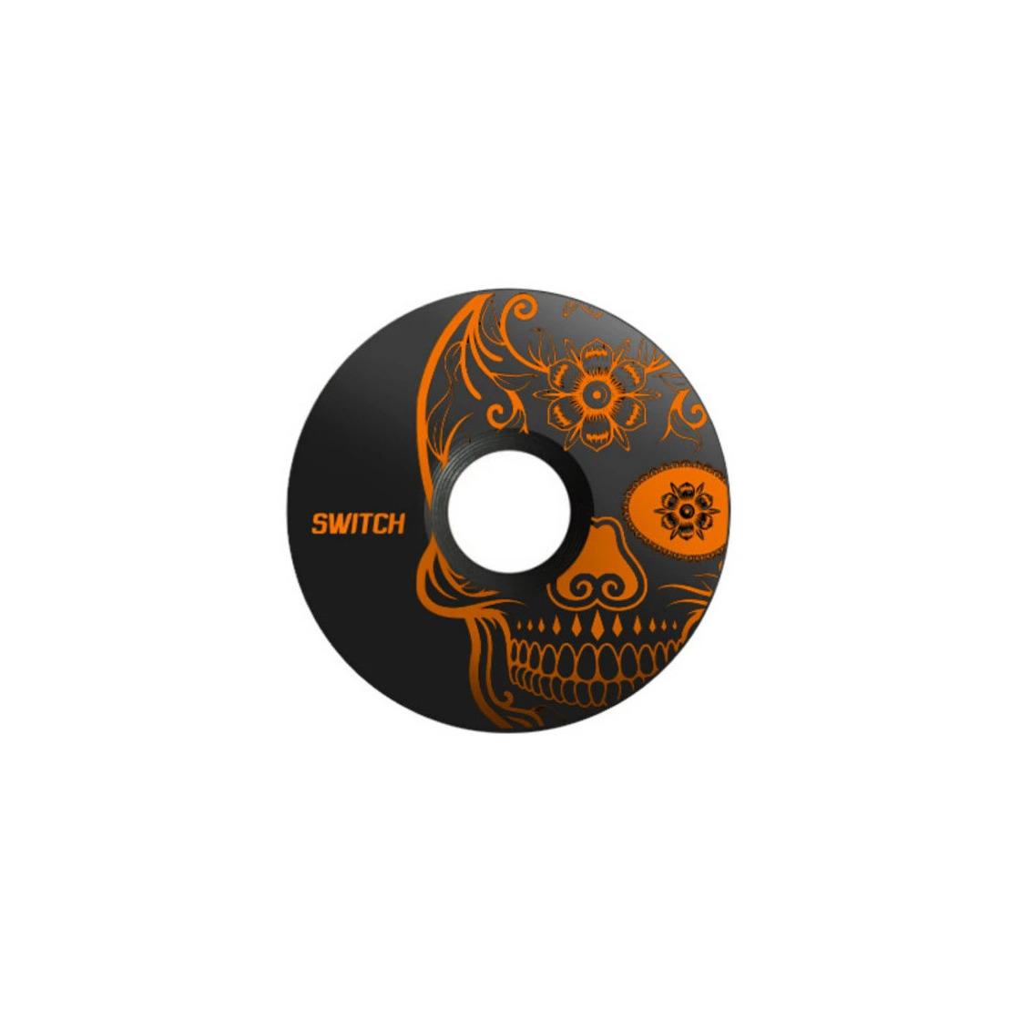 Tappo Serie Sterzo in Alluminio Skull Nero/Arancio