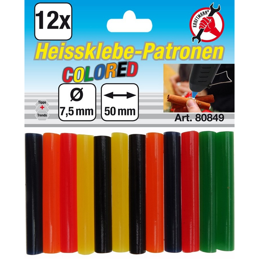 12-piece colored glue sticks 7.5 mm - code BGS80849