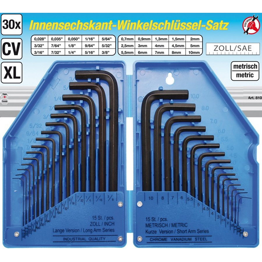 30-piece internal hexagon key set inch and metric sizes in case - code BGS810