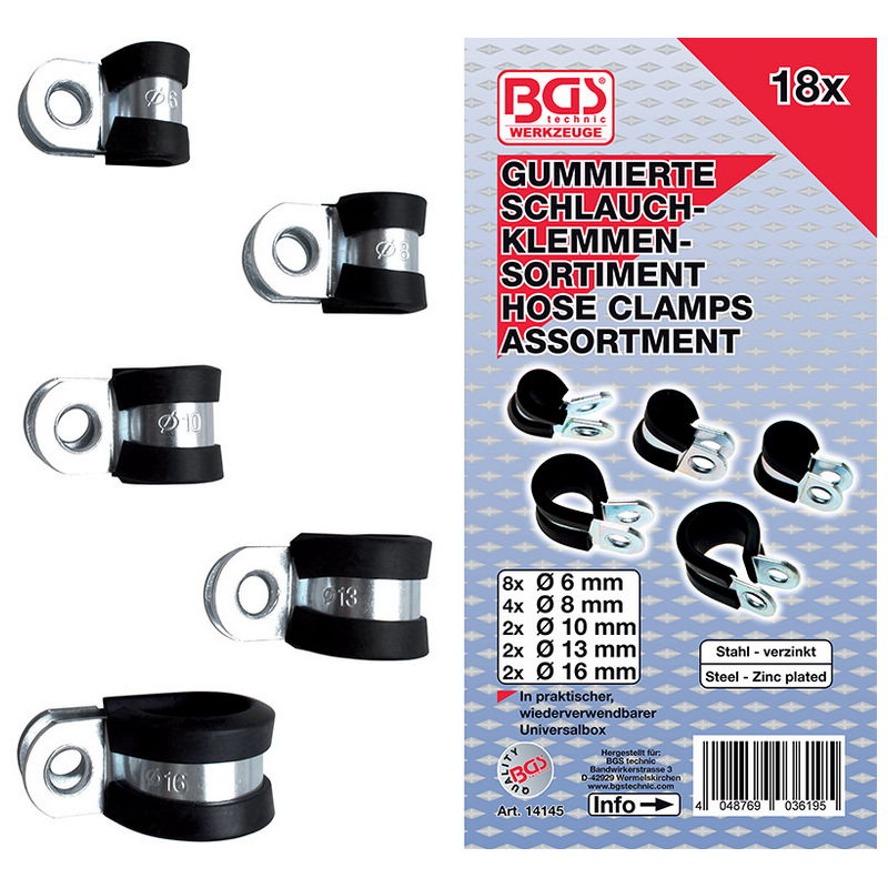 Hose Clamp Assortment gummed Diameter 6 - 16mm 18pcs - Code BGS14145