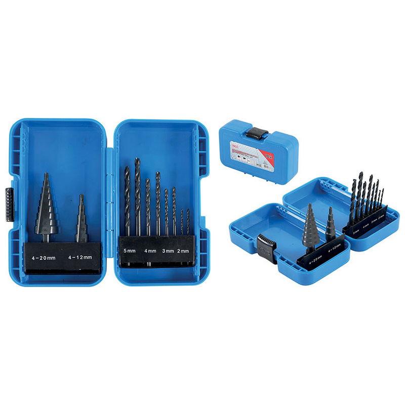 Step Drill and Twist Drill Set Diameter 4 - 12 / 4 - 20mm 2 - 5mm 10pcs - Code BGS1686