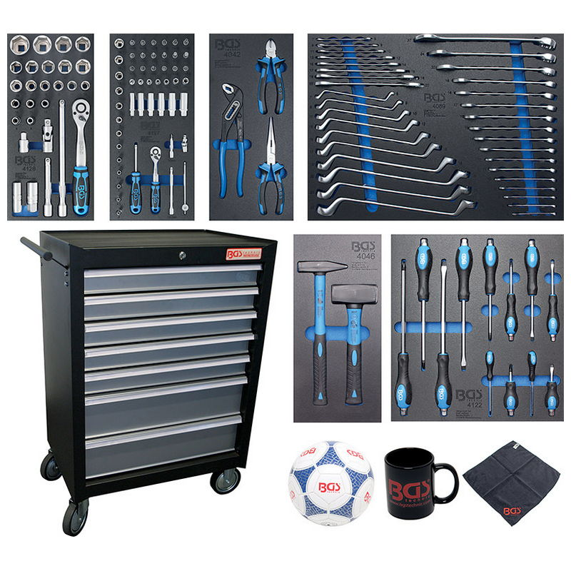 Workshop Trolley 7 drawers with 129 Tools - Code BGS4080