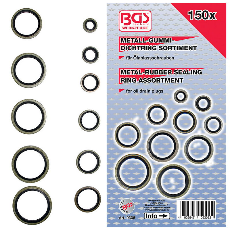 Seal Ring Assortment metal with Rubber sealing bead 150pcs - Code BGS9306