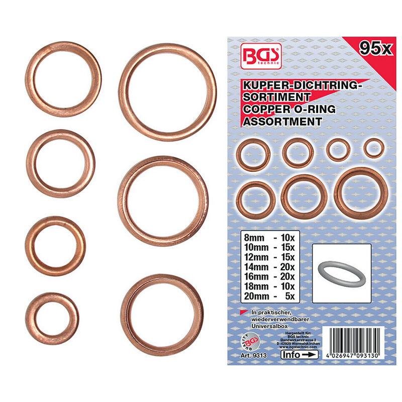 O-Ring Assortment Copper Diameter 6 - 20mm 95pcs - Code BGS9313