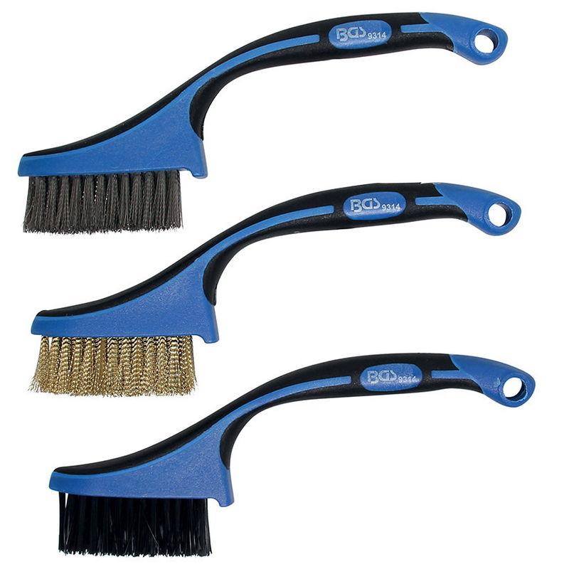 Mini Brush Set Nylon Brass Stainless Steel 165mm 3pcs - Code BGS9314