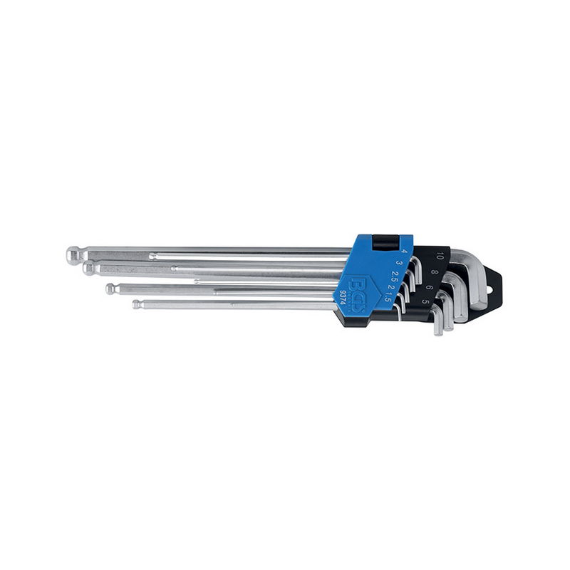 9pcs Hex male Key Set bent Extra-Long Ball Head 1,5-10mm - Code BGS9374