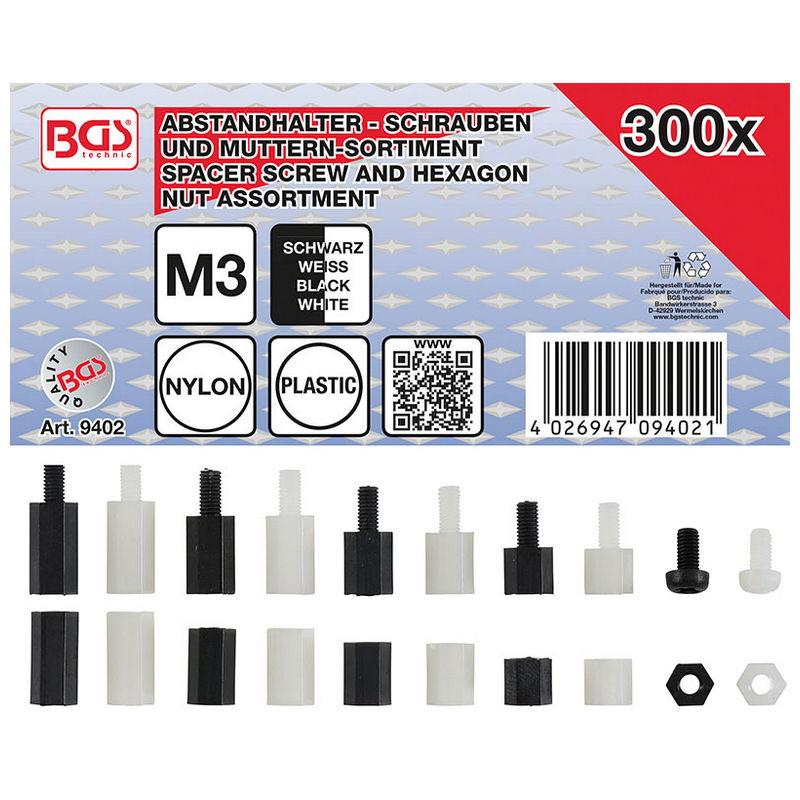 Spacer Screw and Hexagon Nut Assortment Nylon 300pcs - Code BGS9402