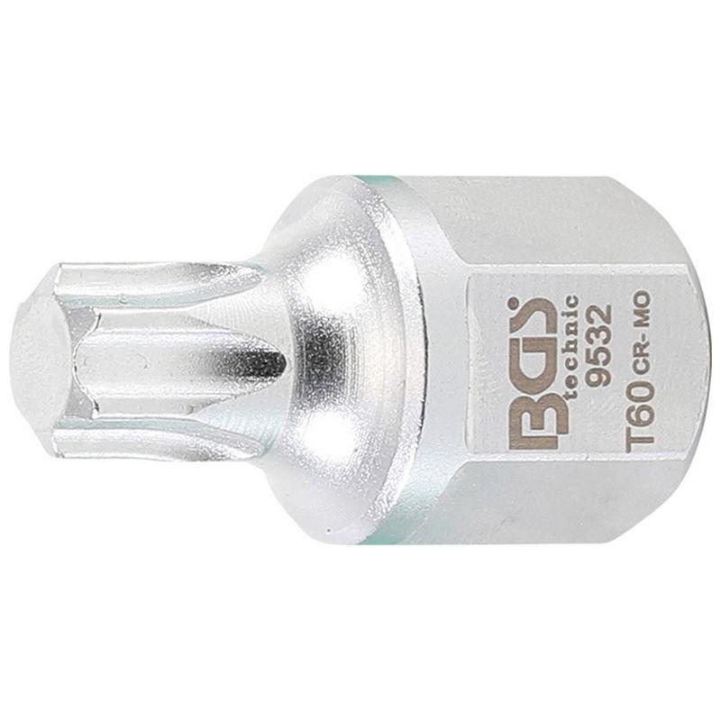 V-ribbed Belt Bit Socket 12.5mm (1/2'') external hexagon 22mm T-Star (for Torx) T60 - Code BGS9532