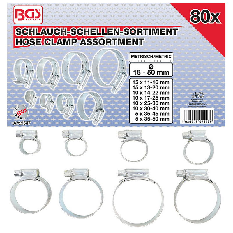 Hose Clamp Assortment 80pcs - Code BGS9547