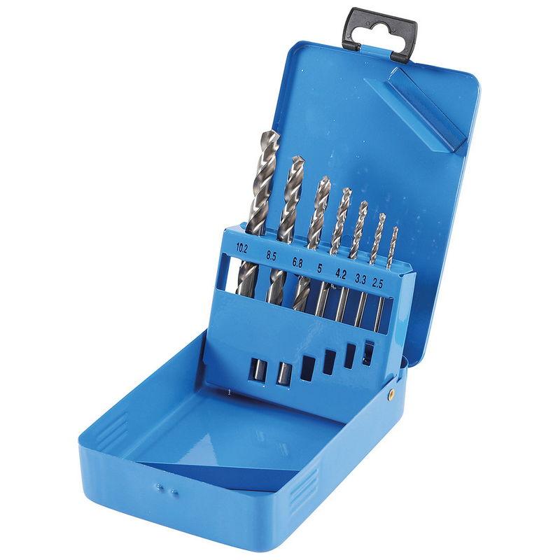 HSS Twist Drill Set Core Hole Sizes Diameter 2.5 - 10.2mm 7pcs - Code BGS9580